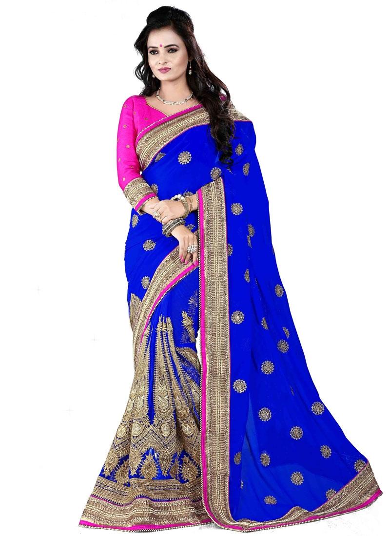 Heavenly Blue Color Resham Work Bridal Saree