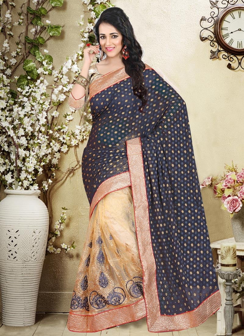 Heavenly Booti Work Net Half N Half Party Wear Saree