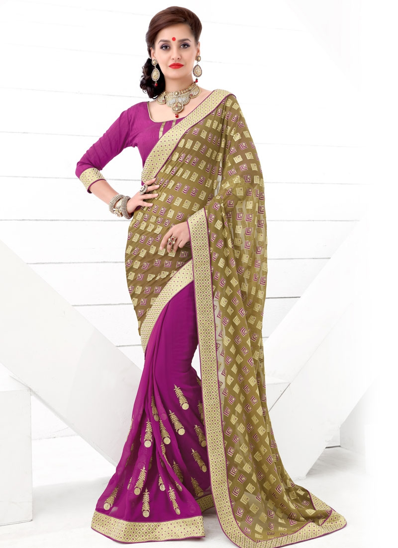 Heavenly Brasso Georgette Half N Half Party Wear Saree