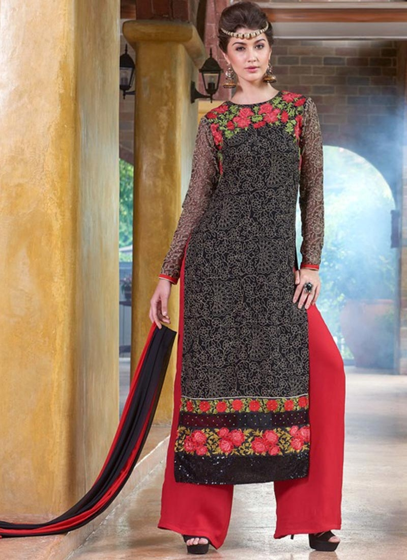 Heavenly Chicken Work Palazzo Style Designer Suit