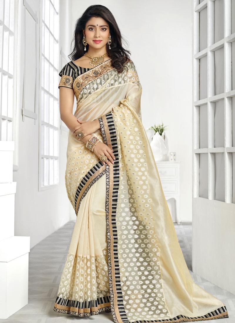 Heavenly Cream Color Shriya Saran Party Wear Saree