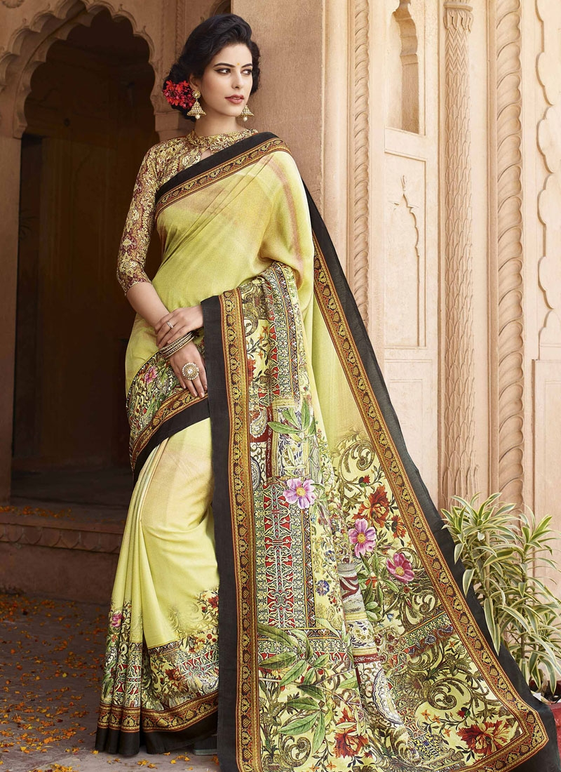 Heavenly Digital Print Work Art Silk Casual Saree