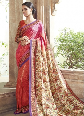 Heavenly Digital Print Work Party Wear Saree