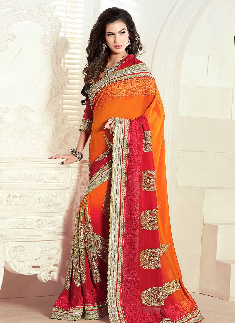 Heavenly Embroidery Work Wedding Saree