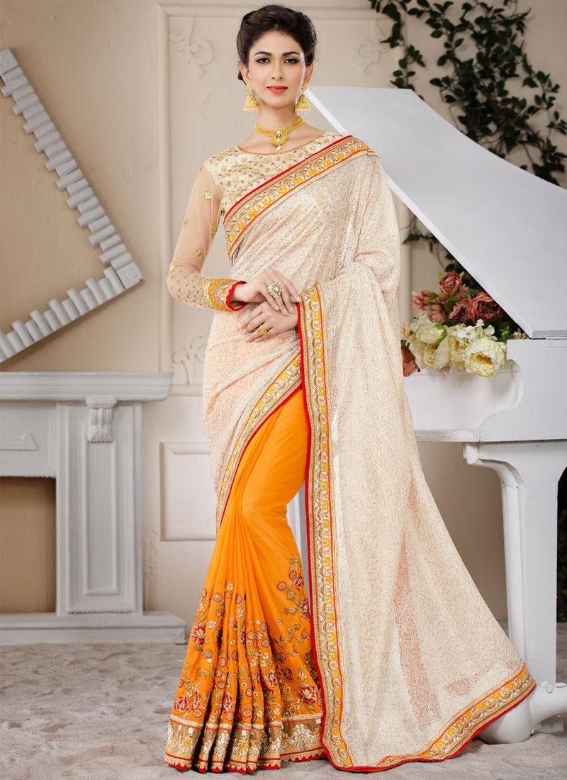 Heavenly Fancy Fabric Lace Work Half N Half Wedding Saree