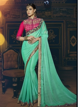 Heavenly Fancy Fabric Rose Pink and Turquoise Trendy Saree For Ceremonial