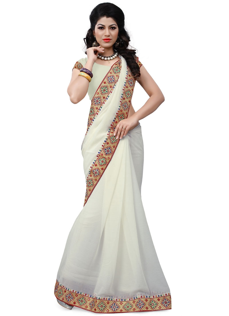 Heavenly Faux Chiffon Lace Work Casual Saree