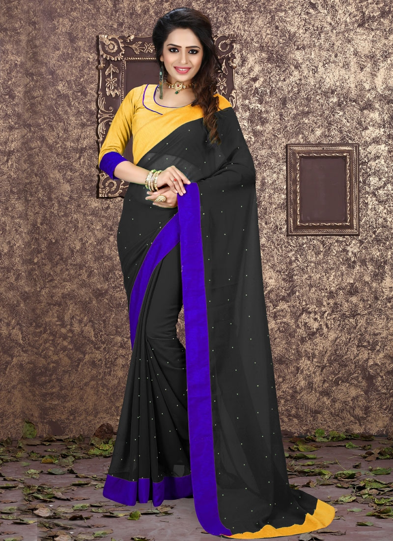 Heavenly Faux Georgette Black Color Casual Saree