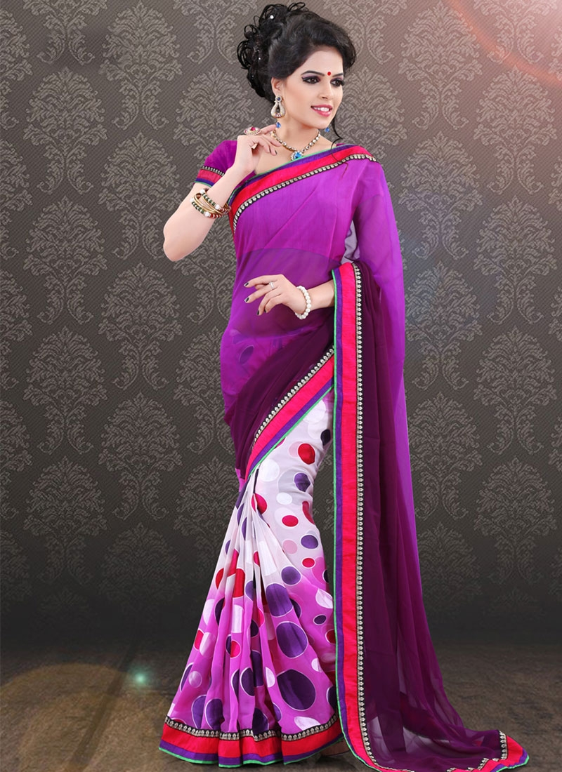 Heavenly Faux Georgette Half N Half Party Wear Saree