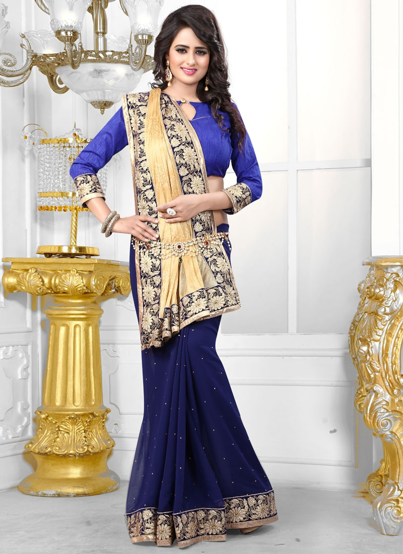 Heavenly Faux Georgette Stone Work Half N Half Party Wear Saree