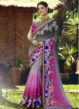 Heavenly Floral And Beads Work Designer Saree