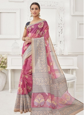 Heavenly Grey and Rose Pink Resham Work Trendy Classic Saree For Ceremonial