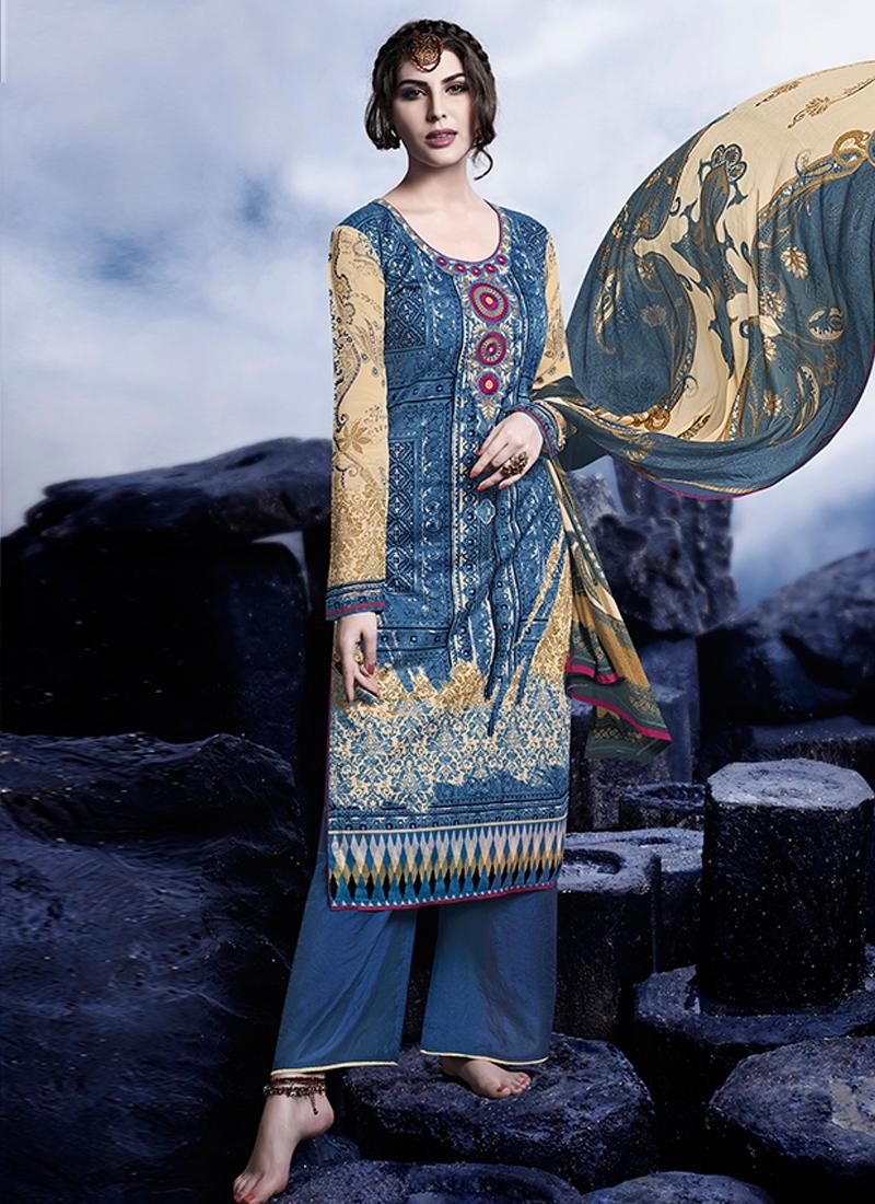 Heavenly Karachi Work Palazzo Style Pakistani Suit