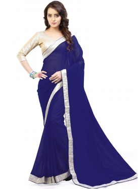 Heavenly  Lace Work Trendy Classic Saree