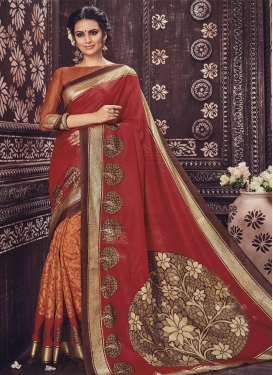 Heavenly Print Work Art Silk Half N Half Saree For Ceremonial