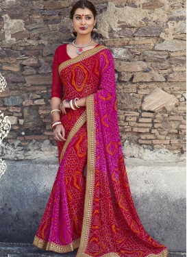Heavenly Red and Rose Pink Trendy Classic Saree