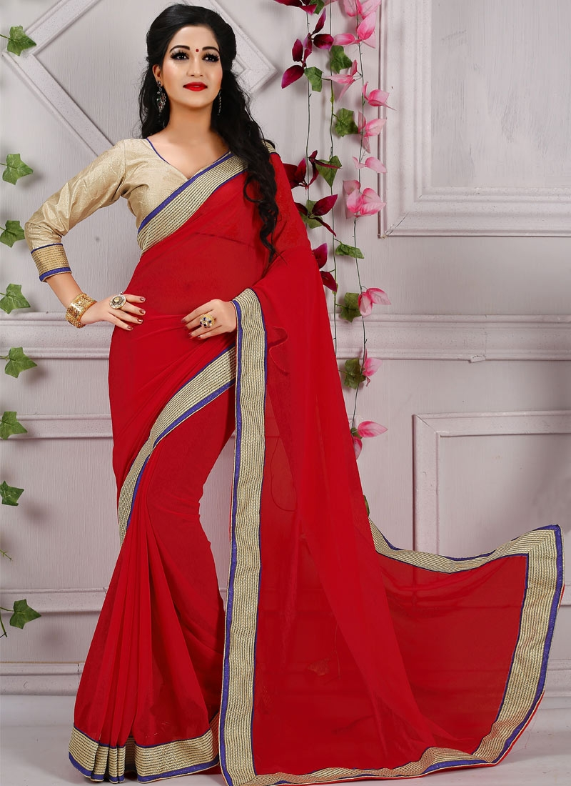 Heavenly Red Color Faux Georgette Casual Saree