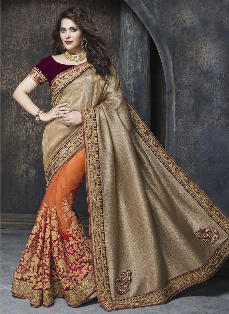 Heavenly Resham Work Net Half N Half Wedding Saree