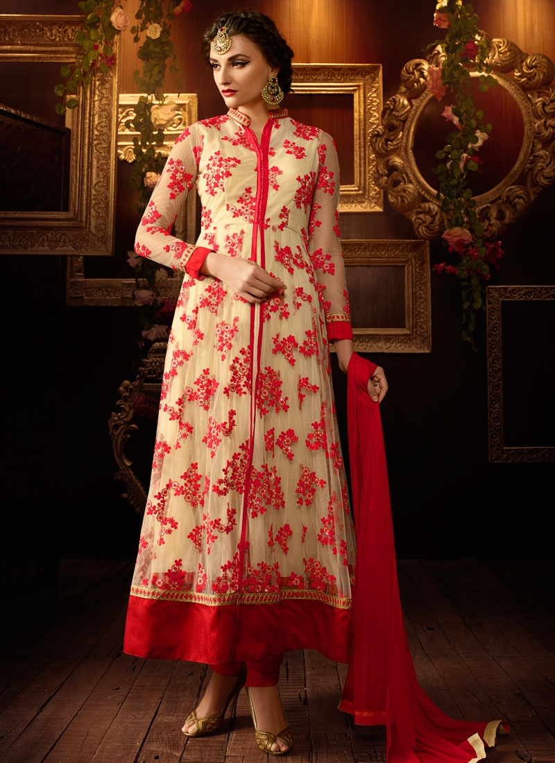 Heavenly Resham Work Net Long Length Wedding Salwar Suit