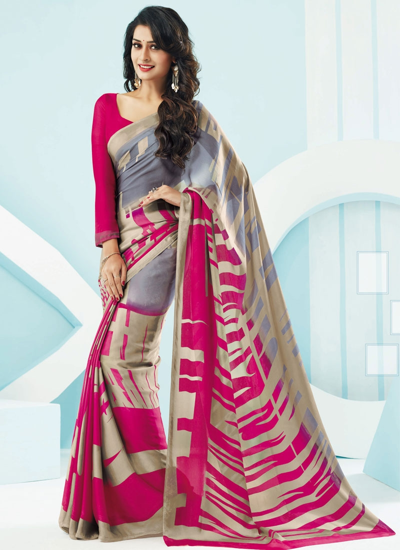 Heavenly Rose Pink Color Crepe Silk Casual Saree