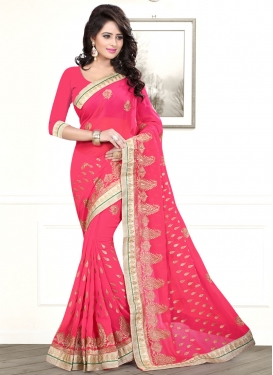 Heavenly Rose Pink Color Lace Work Party Wear Saree