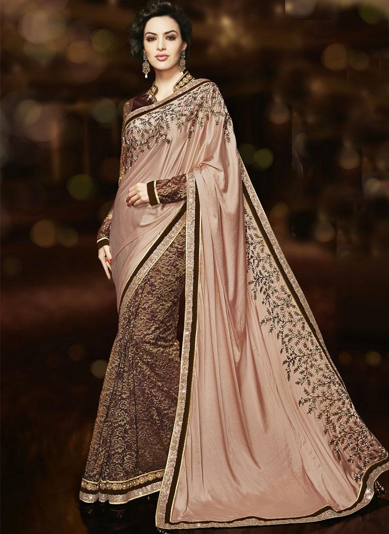 Heavenly Sequins Work Half N Half Wedding Saree