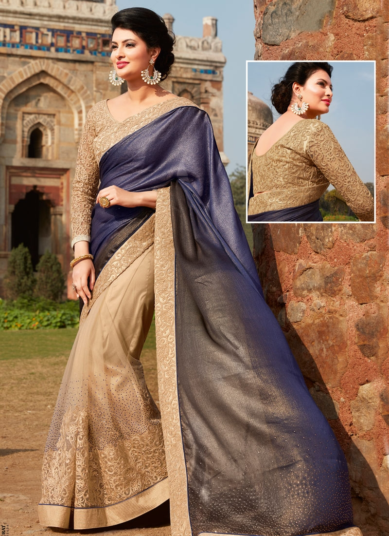 Heavenly Stone And Embroidery Work Half N Half Wedding Saree