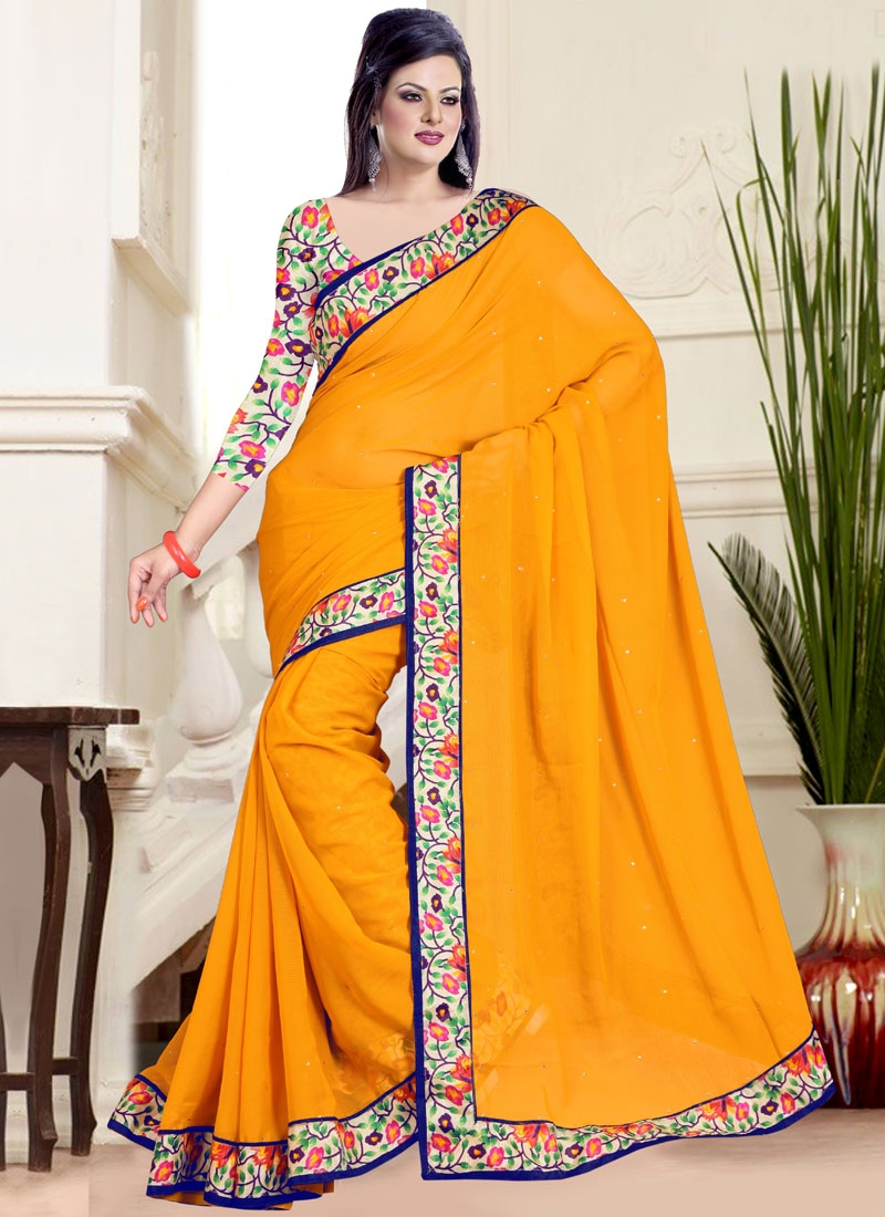 Heavenly Stone And Lace Work Casual Saree