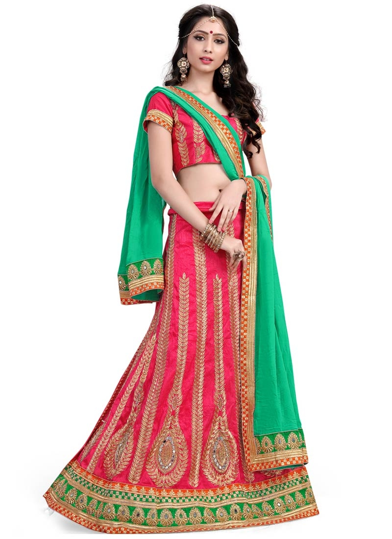 Heavenly Stone And Mirror Work Silk Designer Lehenga Choli