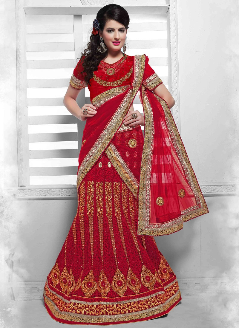 Heavenly Stone Work Red Color Bridal Lehenga Choli