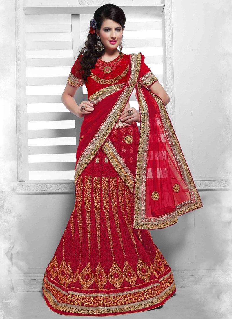 cc5bc0fa874 Heavenly Stone Work Red Color Bridal Lehenga Choli