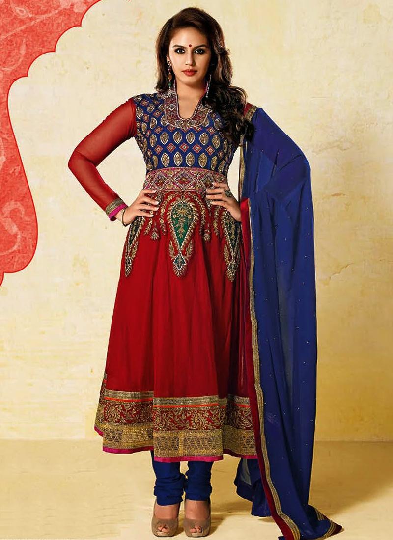 Hema Kureshi Blue And Red Color Designer Salwar Suit
