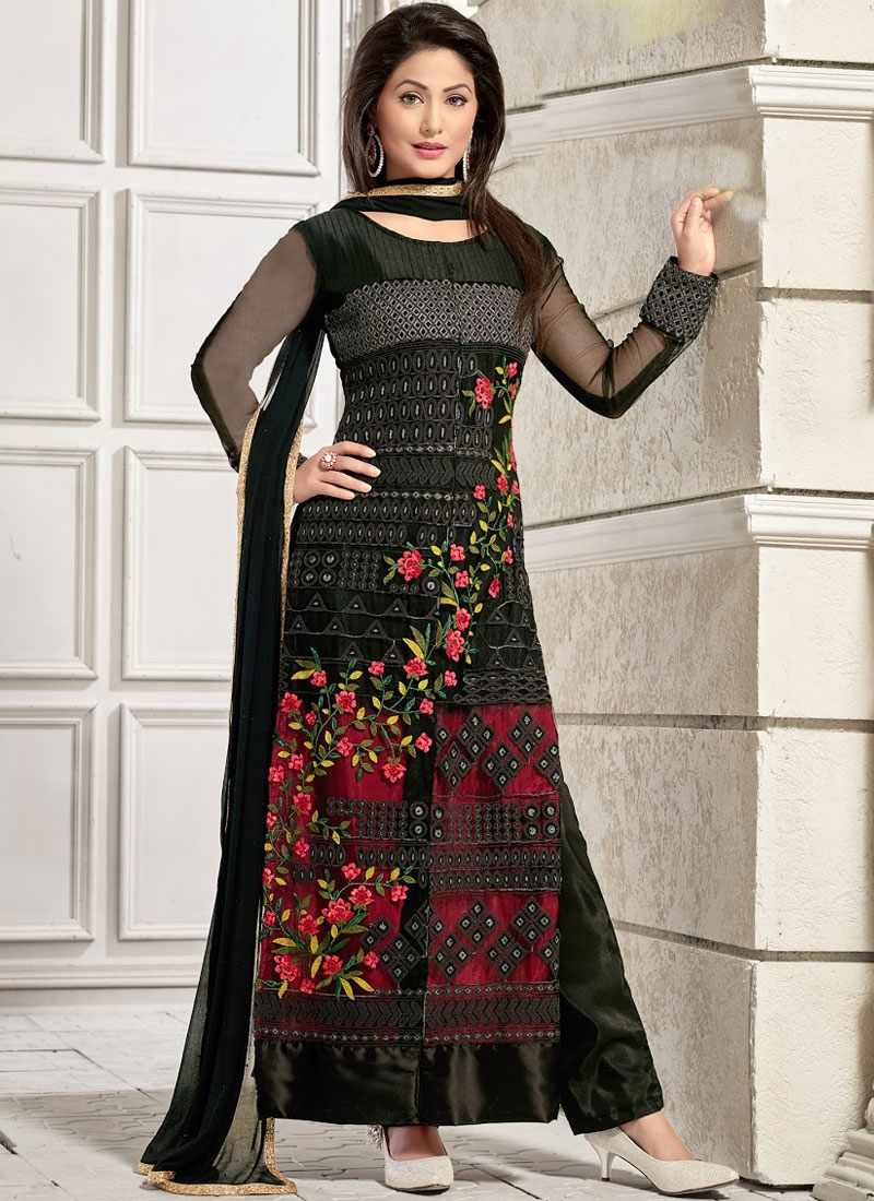c6fc3ad83f Hina Khan Floral Work Pant Style Designer Suit