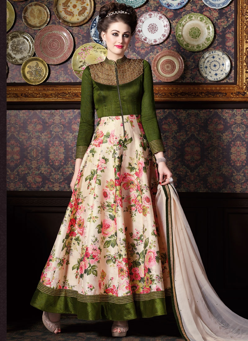 Honourable Beads And Patch Border Work Long Length Anarkali Suit