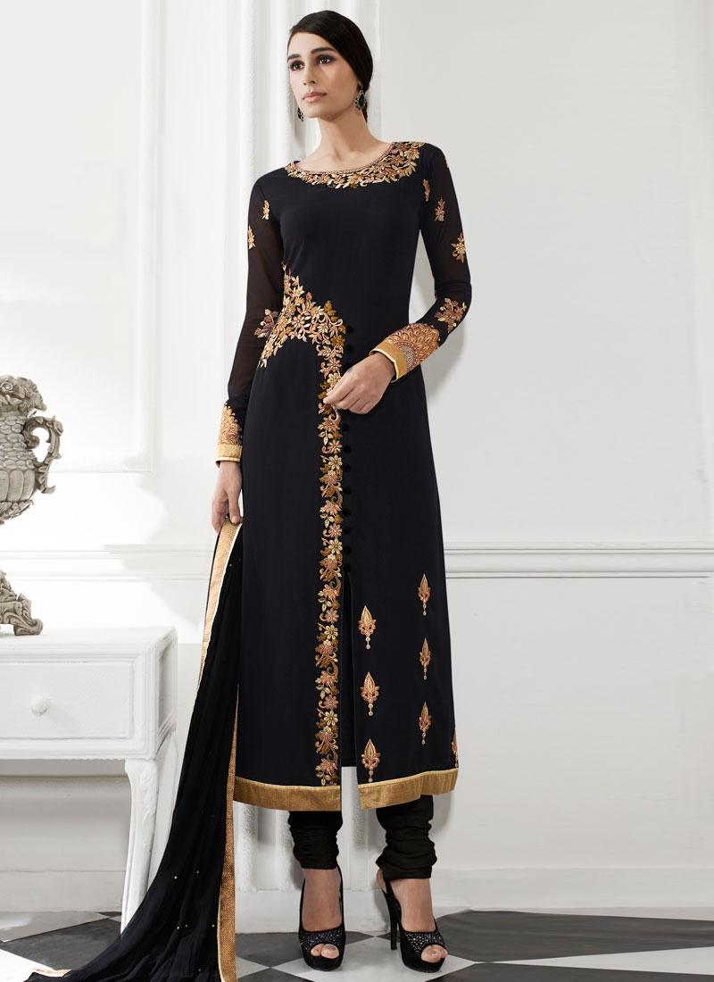 Honourable Black Color Lace Work Pakistani Salwar Suit