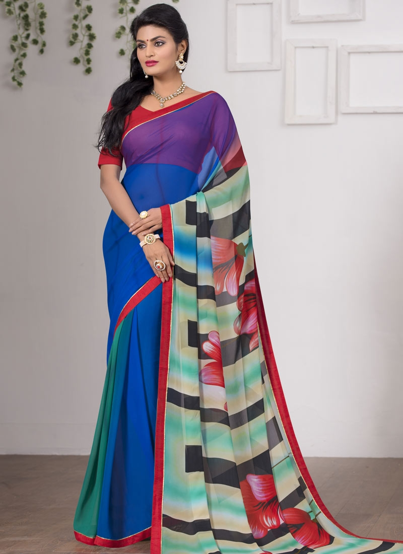 Honourable Digital Print Work Blue Color Casual Saree