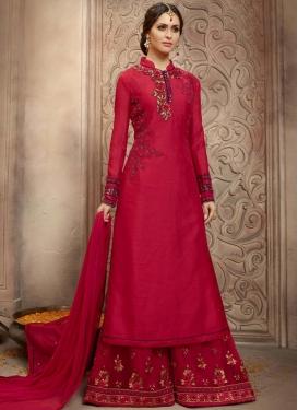 Honourable Embroidered Work Bhagalpuri Silk Palazzo Style Pakistani Salwar Kameez For Festival