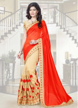 Honourable Embroidered Work Net Half N Half Saree For Festival