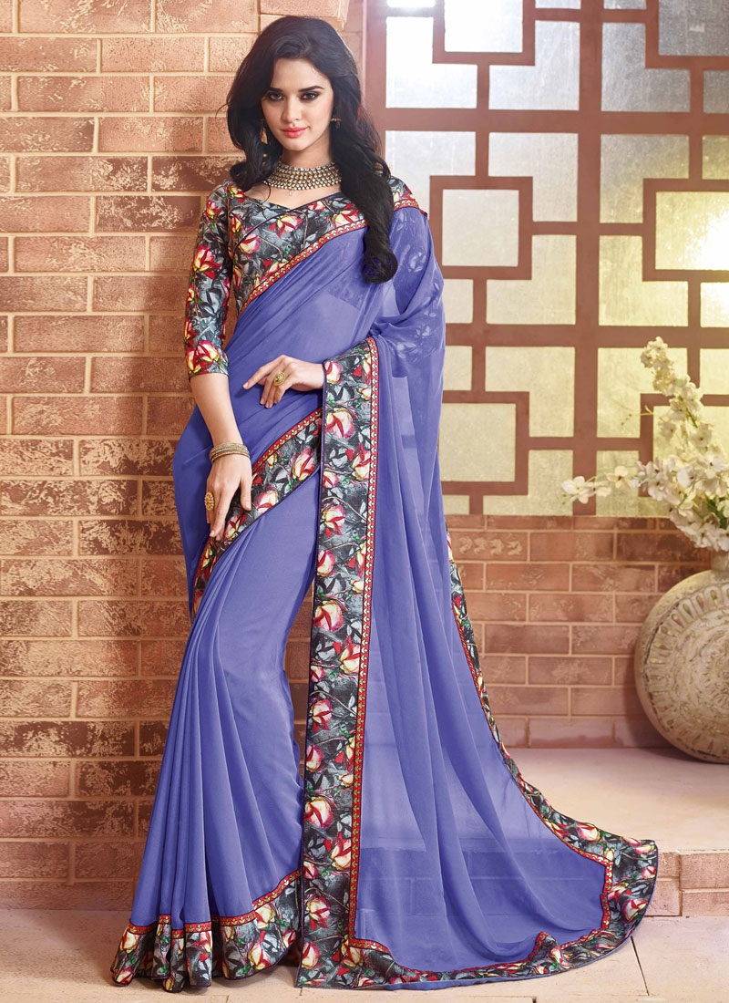 Honourable Faux Georgette Blue Color Party Wear Saree