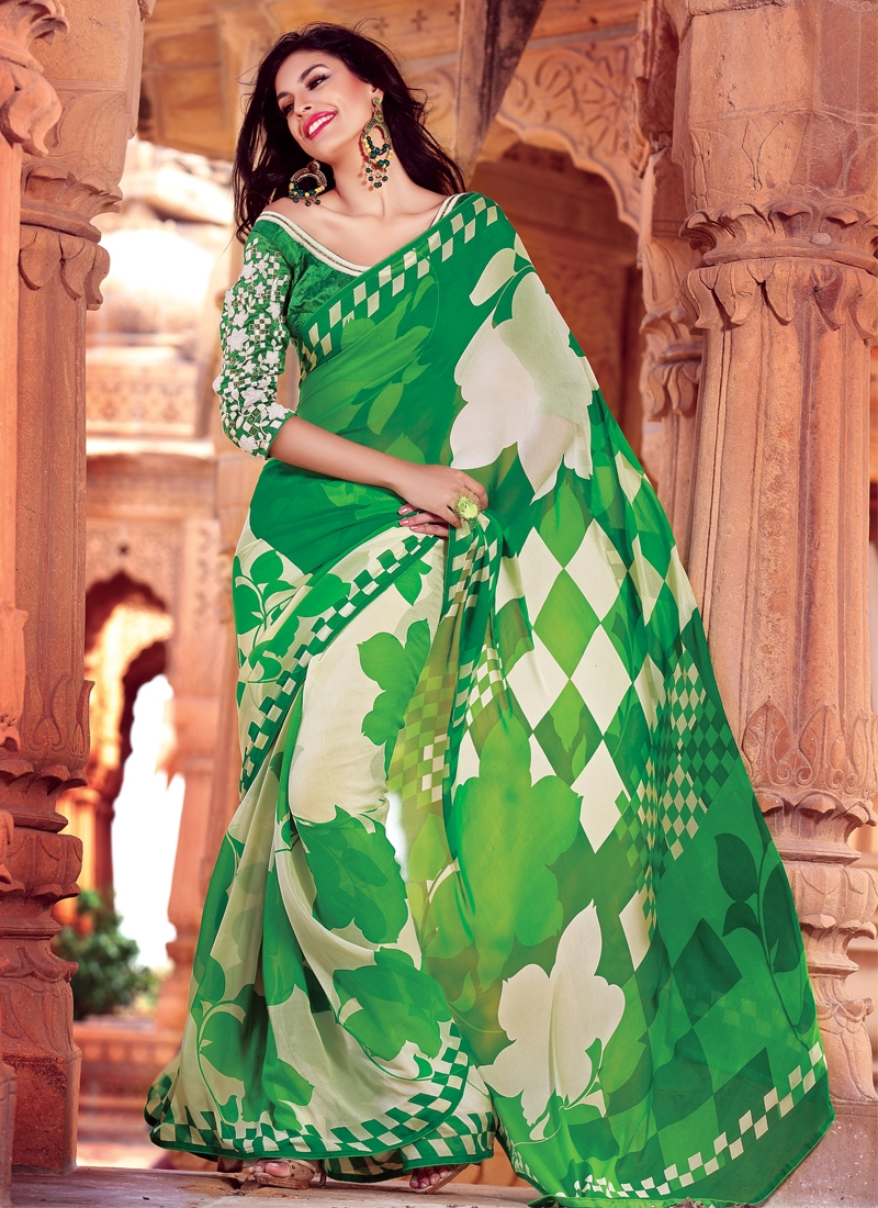 Honourable Green And Off White Party Wear Saree