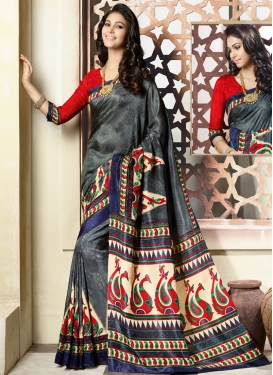 Honourable Grey Color Printed Casual Saree