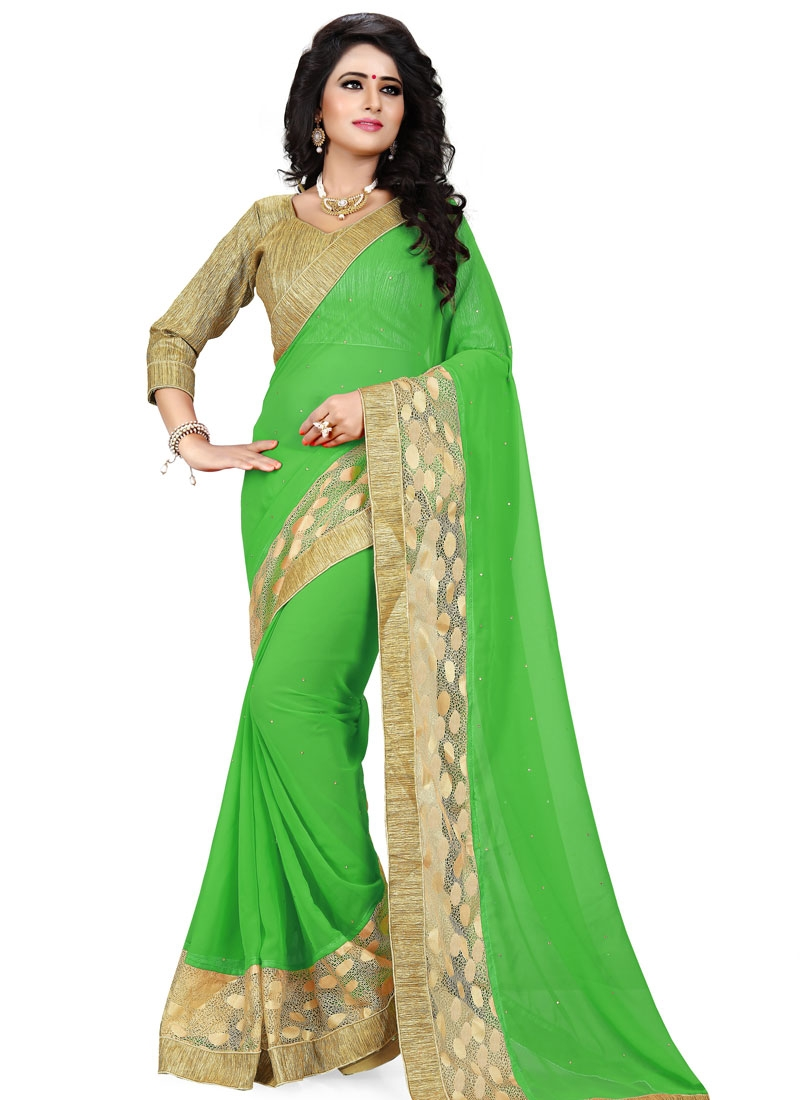 Honourable Lace And Stone Work Party Wear Saree