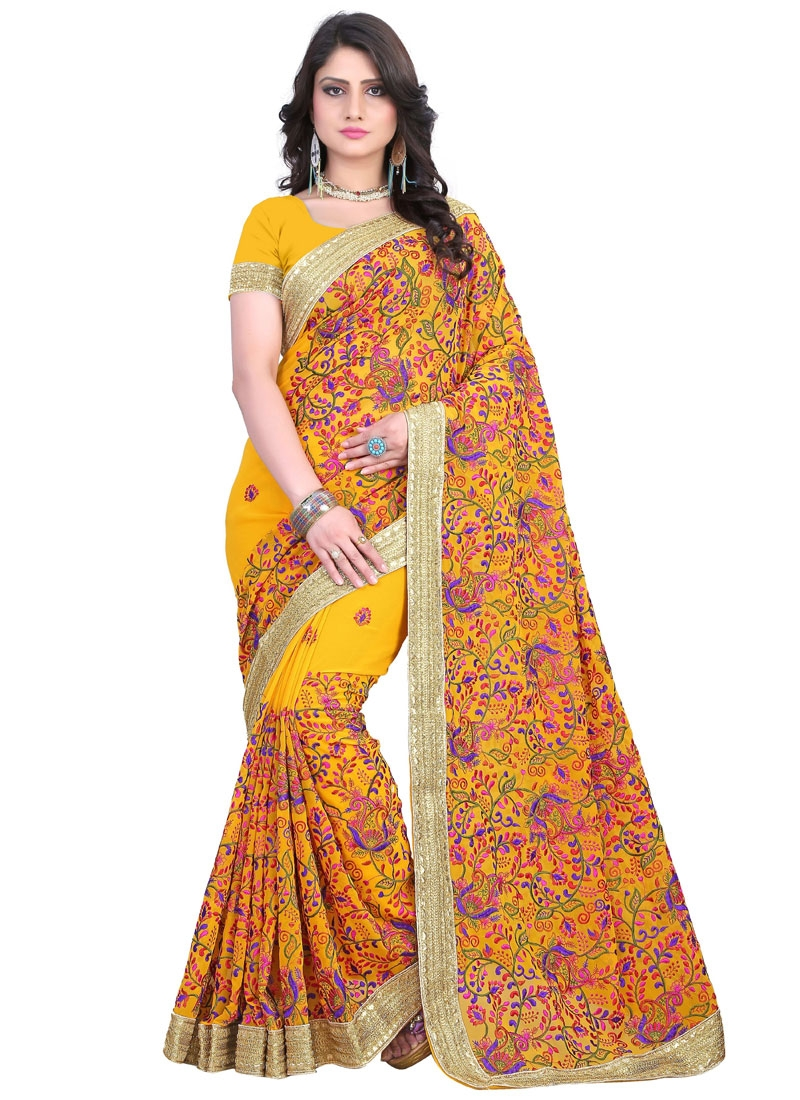 Honourable Mustard Color Resham Work Wedding Saree