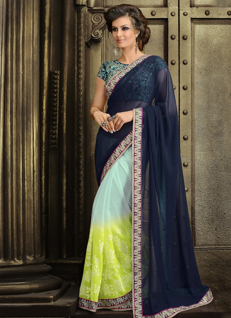Honourable Navy Blue Color Resham Work Party Wear Saree