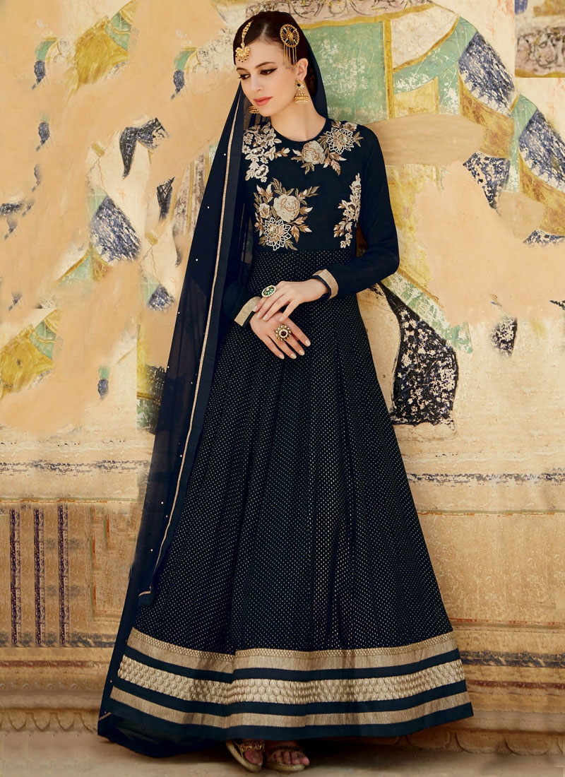 Honourable Patch Border Work Long Length Designer Suit