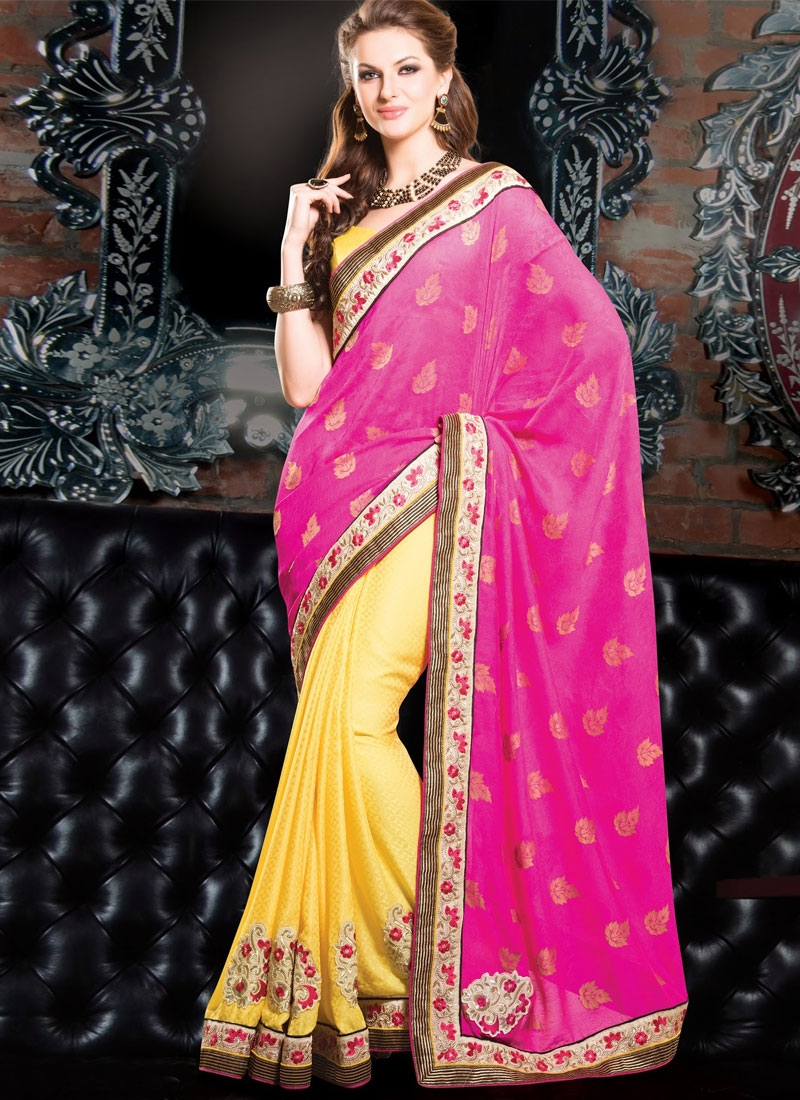 Honourable Rose Pink And Yellow Color Half N Half Party Wear Saree