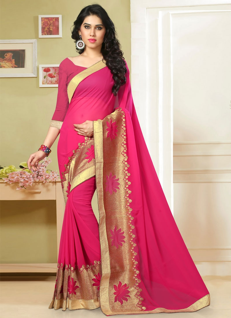 Honourable Rose Pink Color Lace Work Party Wear Saree