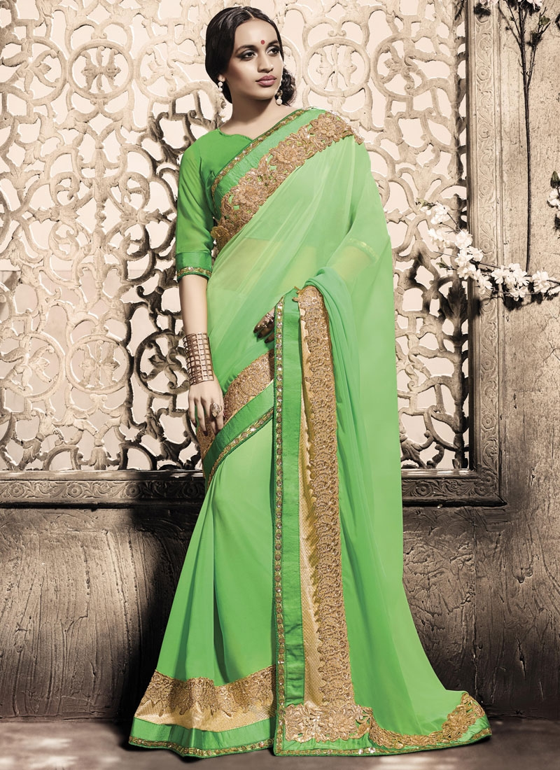 Honourable Sequins Work Faux Georgette Designer Saree