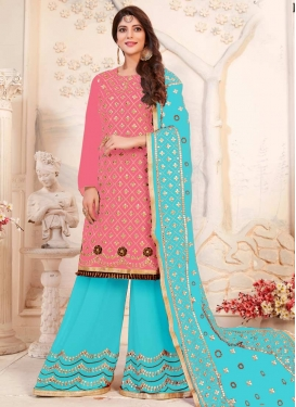 Hot Pink and Light Blue Sharara Salwar Kameez