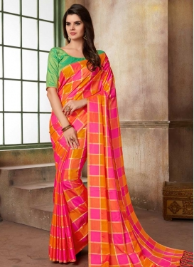 Hot Pink and Mint Green Cotton Silk Trendy Classic Saree